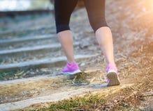 I giovani misura la donna adulta all'aperto camminare o punto di legno alto corrente fotografia stock
