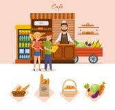 I giovani nel caffè scelgono i prodotti dal menu illustrazione di stock