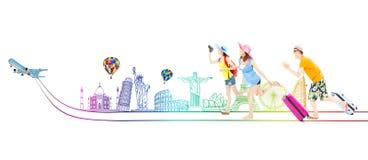 I giovani viaggiatori con zaino e sacco a pelo felici vanno viaggiare insieme universalmente Fotografie Stock