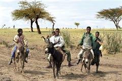 I giovanotti tengono la corsa con gli asini in deserto, Etiopia fotografia stock