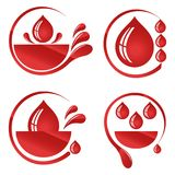 I give my blood with some blood. Blood donation first aid illustration isolated over white background Stock Photos