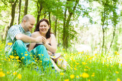 I give my girlfriend a flower. Happy young couple is sitting in a field of buttercups Royalty Free Stock Photos