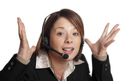 I give up !. Isolated image of a young business woman on a phone call with a customer Royalty Free Stock Photography