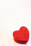 I give you my heart. Red heart box with roses and muslin isolated on a white background Stock Images