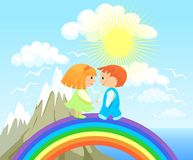 I give you the world. Boy and girl on the background of beautiful scenery Royalty Free Stock Image