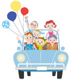 I go for a drive in three-generation family Royalty Free Stock Photo