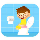 I go to the bathroom. Education and life Character Design series Royalty Free Stock Images