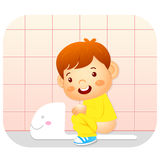 I go to the bathroom. Education and life Character Design series Stock Image