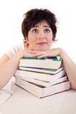 Am I going to pass teh exam?. Studentl thinking about the exam royalty free stock image