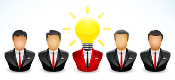 I Got idea. Vector illustration of one Businessman in his teamwork who got a bright idea Royalty Free Stock Images