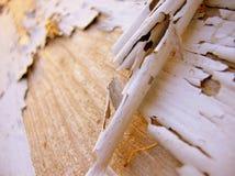 I got a peeling. Macro of peeling white paint on a weathered deck royalty free stock photo