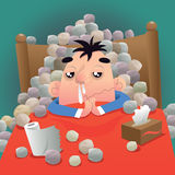 I got a runny nose!. Vector illustration of a man gets a runny nose and takes rest on bed Stock Photo