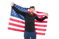 I got the usa flag over my heart cause Im patriotic. Patriotic hipster holding american flag on white background. Bearded man feeling patriotic and happy on stock photos