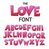 I graffiti comici variopinti del fumetto luminoso scarabocchiano la fonte, l'alfabeto di amore Illustrazione di vettore royalty illustrazione gratis