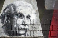 I graffiti di Albert Einstein sulla parete in Opatija Angiolina parcheggiano Fotografie Stock Libere da Diritti