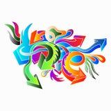 I graffiti hanno colorato le frecce su un'illustrazione bianca del fondo illustrazione di stock