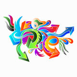 I graffiti hanno colorato le frecce su un'illustrazione bianca di vettore del fondo royalty illustrazione gratis