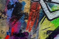 I graffiti variopinti di bella arte astratta della via disegnano il primo piano Dettaglio della parete Può essere utile per gli a Fotografia Stock Libera da Diritti