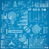 I grafici di affari, i grafici, scarabocchi di stats hanno messo su fondo blu Fotografia Stock Libera da Diritti