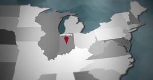 I grafici moderni di moto degli Stati Uniti tracciano - Indianapolis Pin Location Animation illustrazione di stock