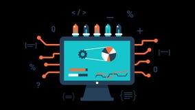 I grafici trasparenti di moto di vettore di animazione dell'elaborazione dei dati del computer avvolgono illustrazione di stock