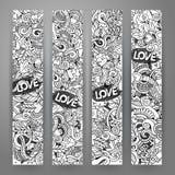 I grafici vector lo scarabocchio disegnato a mano dei biglietti di S. Valentino e di amore Fotografie Stock