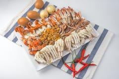 I granchi scorsi, frutti di mare tailandesi, vista superiore fotografie stock
