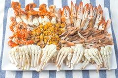 I granchi scorsi, frutti di mare tailandesi, vista superiore immagini stock