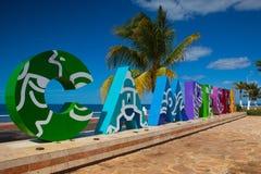I grandi caratteri in grassetto variopinti che compitano Campeche offrono a turisti un Se fotografie stock libere da diritti
