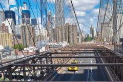 I grandi impianti del ponte di Brooklyn passato Fotografia Stock