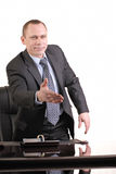 I greet you. Man is in office to greet came Royalty Free Stock Image