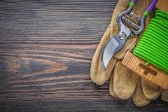 I guanti protettivi del cuoio dei tagli della potatura fanno il giardinaggio cavo del legame su legno Fotografia Stock