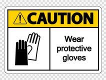 i guanti protettivi di usura di cautela di simbolo firmano su fondo trasparente illustrazione di stock
