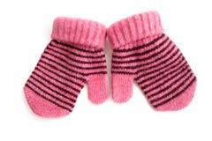 I guanti rosa del bambino con la banda nera Fotografie Stock