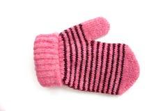 I guanti rosa del bambino con la banda nera Immagini Stock