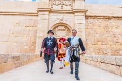 I Guardia ståta på St Jonh' s som är stolt i Birgu, Malta Fotografering för Bildbyråer