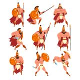 I guerrieri spartani in armatura dorata e nell'insieme rosso del capo, caratteri antichi dei soldati vector le illustrazioni su u illustrazione vettoriale