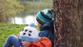 I hösten parkera barn som sitter på gräsmattan och, dricka varmt te, går i den nya luften arkivfilmer
