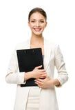 I halvfigur stående av affärskvinnan med legitimationshandlingar Royaltyfri Foto