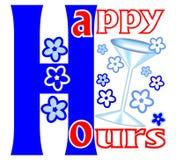 I happy hour identificano con i fiori ed il vetro di vino illustrazione vettoriale