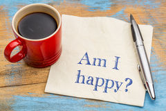 Am I happy? A question on a napkin Royalty Free Stock Photos