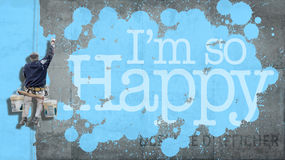 I am so Happy in a wall Royalty Free Stock Images