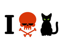 I hate cats. Skull symbol of hatred and pets. Logo for allergy s Stock Images