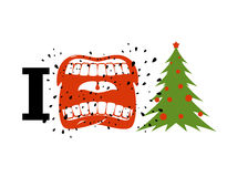 I hate Christmas. shout symbol of hatred and Christmas tree. Aggressive Open mouth. Yelling and cursing. I do not like New year stock illustration