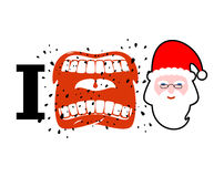 I hate christmas. shout symbol of hatred face Santa Claus. Aggressive Open mouth. Yelling and cursing royalty free illustration
