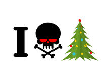 I hate Christmas. Skull and bones symbol of hatred and Christmas. Tree. New year sign for bully royalty free illustration