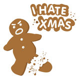 I hate christmas vector. Illustration of broken gingerbread man cookie isolated on white + vector eps file royalty free illustration