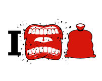 I hate Christmas. Wicked shout symbol of hatred and Santa bag. A. Ggressive Open mouth. Yelling and cursing. I do not like new year stock illustration