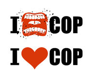 I hate cop. I love police. shout symbol of hatred and antipathy. Open mouth. Flying saliva. Yells and Shrill scream. hatred police man emblem. Red heart sign stock illustration