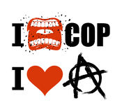 I hate cop. loud cry of sign of aggression and hatred for police Stock Image